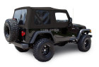 Jeep Wrangler TJ Soft Top 2003-06 in Black Sailcloth with Tinted Windows & Upper Doors